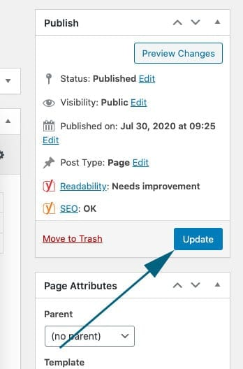 an example of how to update a website on WP Engine